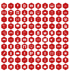 100 architecture icons hexagon red vector image