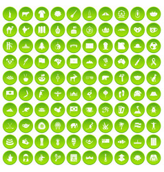100 landmarks icons set green vector image