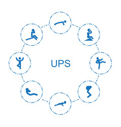 8 ups icons vector