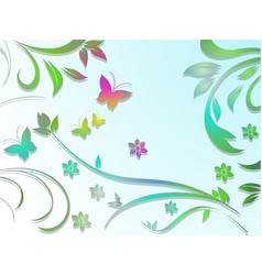 abstract floral background with paper colorful vector image