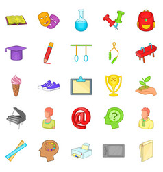 academy icons set cartoon style vector image