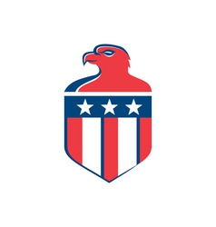 American Bald Eagle Head Flag Shield Retro vector