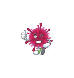 Amoeba coronaviruses making thumbs up gesture vector