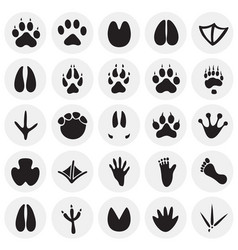 Animal foot prints icons set on circles background vector