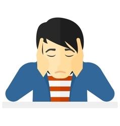 Anxious man clutching his head vector