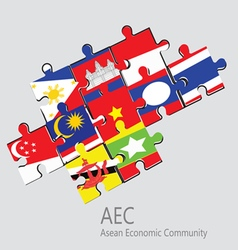 ASEAN Economic Community AEC jigsaw concept vector