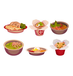Asian food with spicy noodle and soup in carton vector
