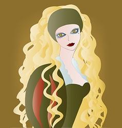 Beautiful girl with long wavy hair vector image