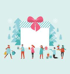 bif gift box christmas banner new year greeting vector image