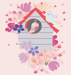 bird couple in flower house vector image