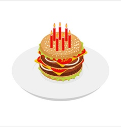 Birthday Hamburger with candles isometrics Festive vector image