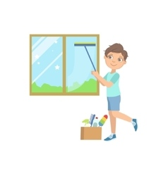 Boy Washing The Window With Wiper vector