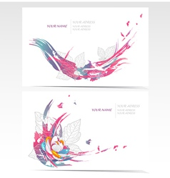 Business card set with floral elements vector
