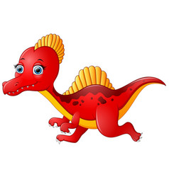 cartoon red spinosaurus vector image