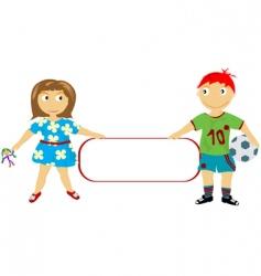children holding a banner vector image