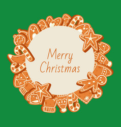 Christmas banner made gingerbread cookies vector