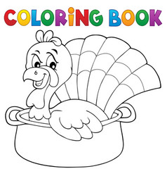 coloring book turkey bird in pan theme 1 vector image