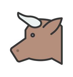Cow head farm animal filled style editable vector