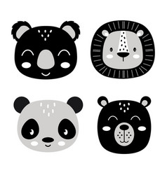 cute animal face set on white vector image