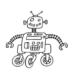 cute robot on wheels vector image