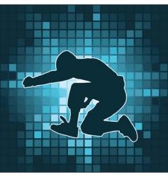 dancing silhouette jump vector image