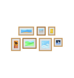 decorative frames with photos on wall interior vector image