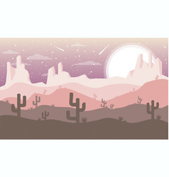 Desert background with cactus vector