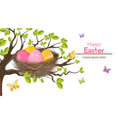 easter holiday card with eggs nest spring vector image