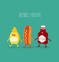 fast food friends vector image