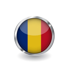flag of romania button with metal frame and vector image
