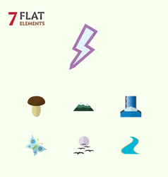 Flat icon nature set of peak tributary lightning vector