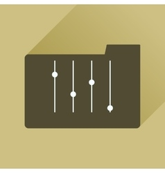 Flat icon with long shadow folder equalizer vector
