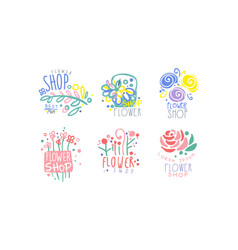Flower shop retro labels collection colorful hand vector