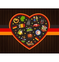 Germany travel heart postcard with famous German vector