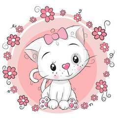 Greeting card kitten with flowers on a pink vector