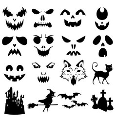 Halloween pumpkins carved silhouettes template vector