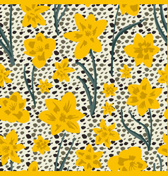 Hand drawn bright yellow daffodil floral on animal vector