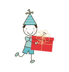 Happy kid with gift box vector