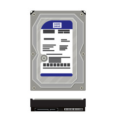hard drive side and top view isolated on white vector image