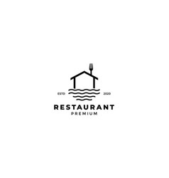 Home or house line with fork or spoon restaurant vector