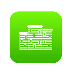Houses icon digital green vector