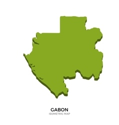 Isometric map of Gabon detailed vector image