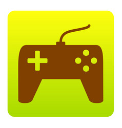 joystick simple sign brown icon at green vector image