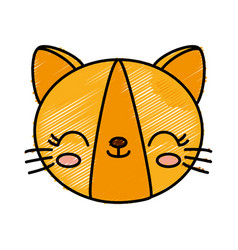 kawaii cat icon vector image