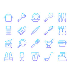 Kitchenware simple color line icons set vector
