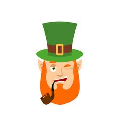 leprechaun winks dwarf with red beard happy emoji vector image