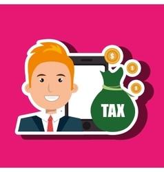 Man smartphone tax money vector