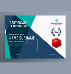 Modern certificate of appreciation template vector