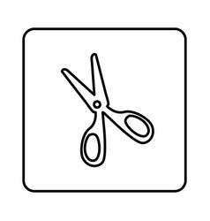 Monochrome contour square with scissors icon vector