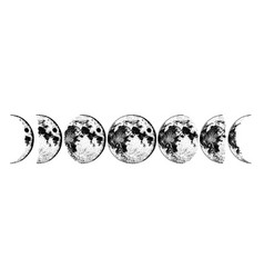 Moon phases planets in solar system astrology vector